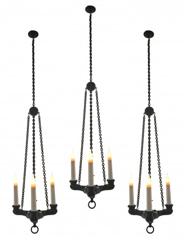 Lighting  - A set of three neo-pompeian patinated bronze chandeliers