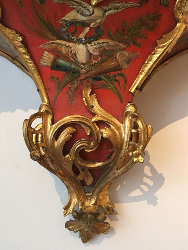 Clocks  - A Louis XV ormolu mounted vernis européen cartel clock