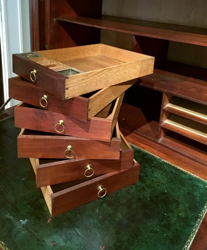 Furniture  - A Louis XVI solid mahogany secrétaire à abattant signed Magnien