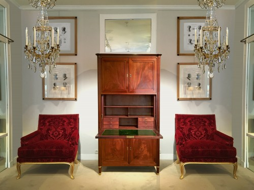 Antiquités - A Louis XVI solid mahogany secrétaire à abattant signed Magnien