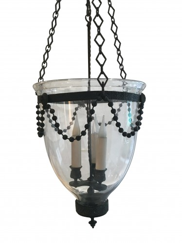 A George III patinated bronze glass Bell Lantern and its glass smoke dish -