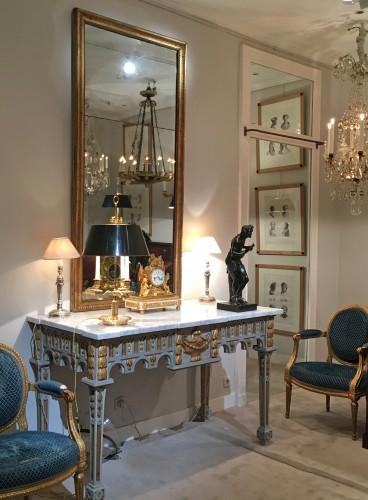 A rectangular Louis XVI giltwood mirror - Mirrors, Trumeau Style Louis XVI
