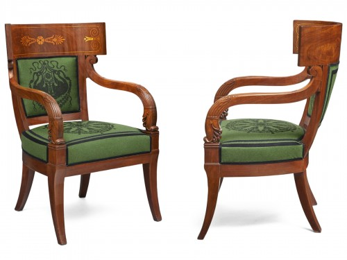 A pair of klismos armchairs by Pierre Antoine Bellangé
