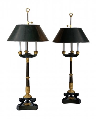 A pair of Empire gilded and patinated bouillotte lamps