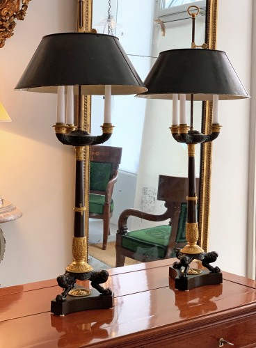 Empire - A pair of Empire gilded and patinated bouillotte lamps