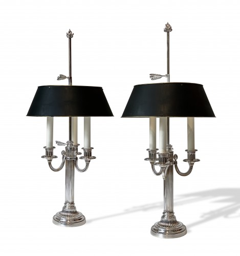 A pair of three light bouillotte lamps
