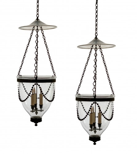 A pair of Georgian bell jar lanterns
