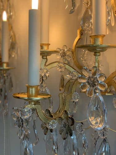 Lighting  - A pair of gilded and glass wall-lights - Maison Baguès