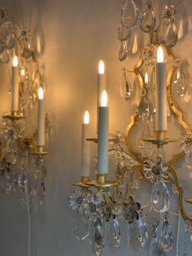 A pair of gilded and glass wall-lights - Maison Baguès - 50
