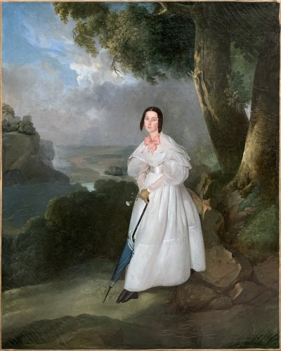 Edouard Pingret (1785-1867)  - Portrait of young Lady in the landscape, c.1830