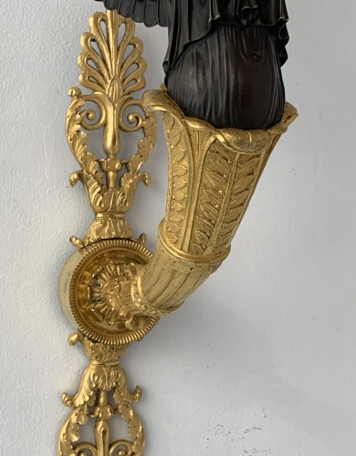 A pair of two-light Empire ormolu wall-lights attributed to Claude Galle - Lighting Style Empire