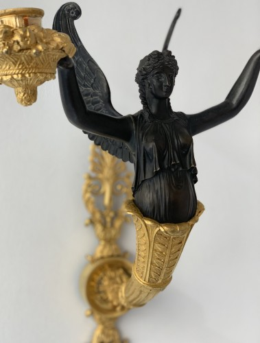 Lighting  - A pair of two-light Empire ormolu wall-lights attributed to Claude Galle