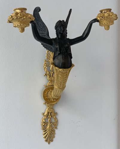 Empire - A pair of two-light Empire ormolu wall-lights attributed to Claude Galle