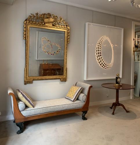 A large Louis XVI rectangular giltwood mirror  - Mirrors, Trumeau Style Louis XVI