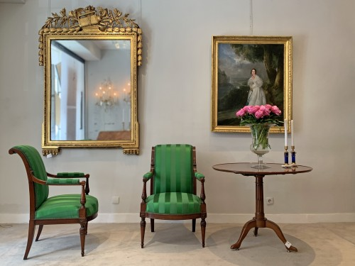 Louis XVI - A large Louis XVI rectangular giltwood mirror