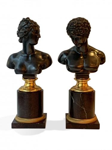 A pair of bronze busts after the antique - Venus and Antinous