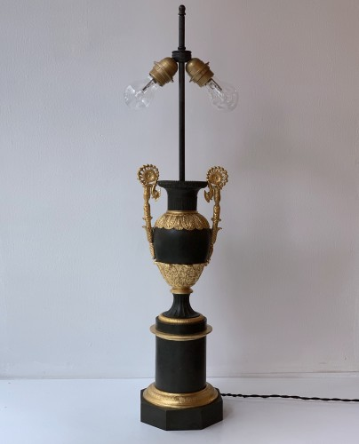 19th century - A pair of gilded and painted tole Carcel lamp - Second quarter 19th century