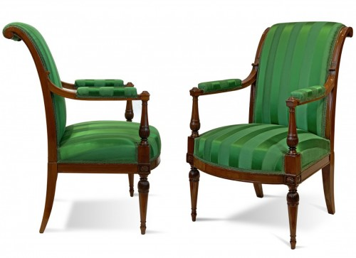 A pair of mahogany Directoire armchairs in the Etruscan style