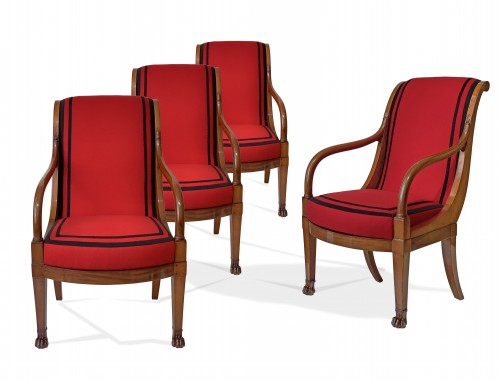 A set of four mahogany armchairs signed DEMAY - Paris circa 1800