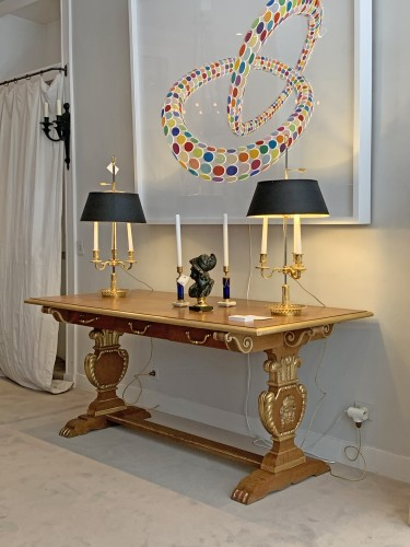 20th century - Jansen furniture - A sofa table decorated with the Prince of Wales feathers
