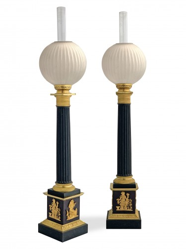 A pair of columnar Carcel lamps - First half 19th century