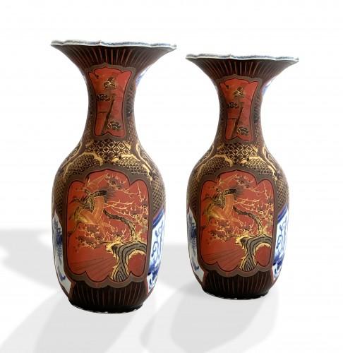 - A pair of Arita lacquered porcelain vases. Japan Meiji period