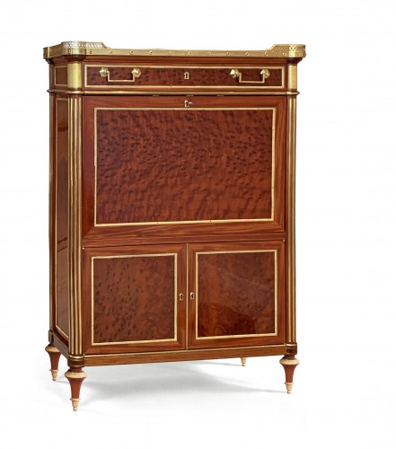 A Louis XVI ormolu mounted mahogany secretaire attributed to Molitor -