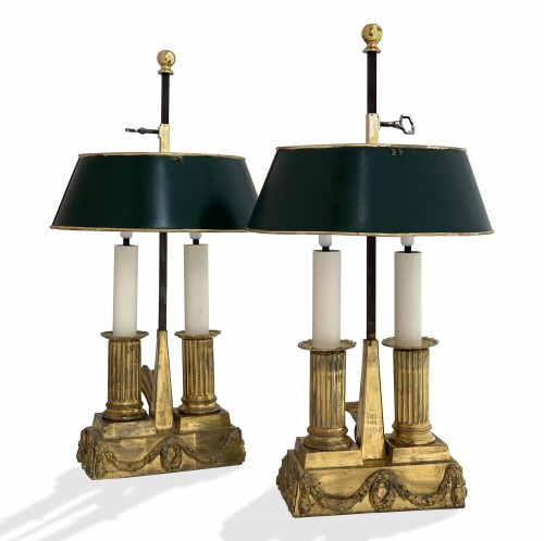 A set of two Louis XVI gilt bronze bouillotte lamps, late 18th century