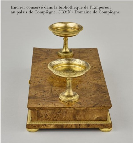 - An Empire ormolu mounted mahogany inkstand