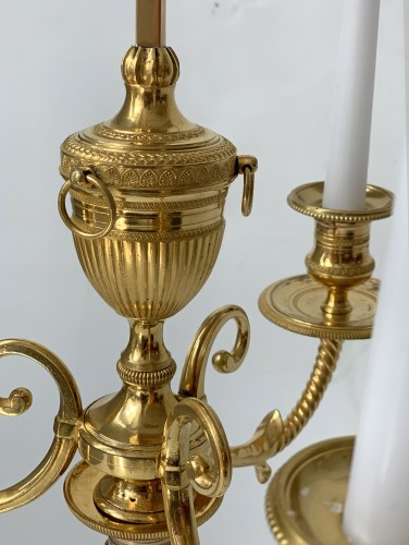 A pair of three-light Directoire ormolu bouillotte lamps - Lighting Style