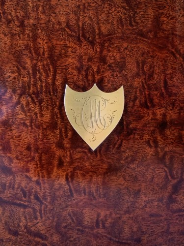 Furniture  - A brass inlaid and gilded bronze Empire amboyna burl casket