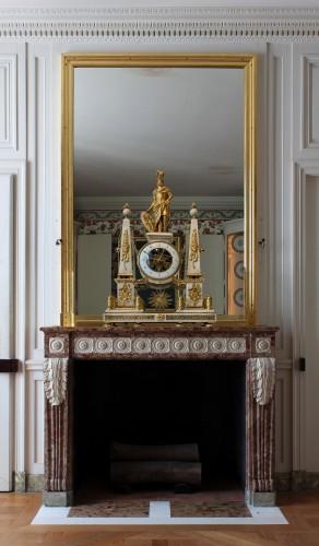 A large Louis XVI ormolu mounted white marble portico clock - Horology Style Louis XVI
