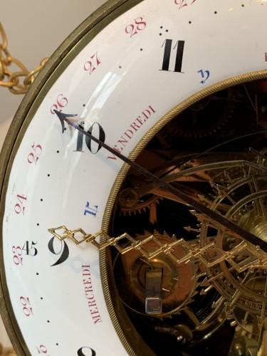 Horology  - A large Louis XVI ormolu mounted white marble portico clock