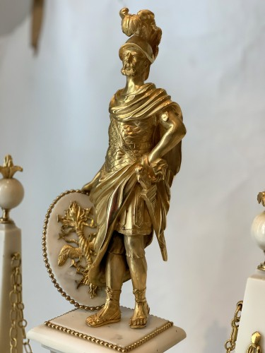 A large Louis XVI ormolu mounted white marble portico clock -