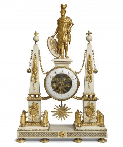 18th century - A large Louis XVI ormolu mounted white marble portico clock
