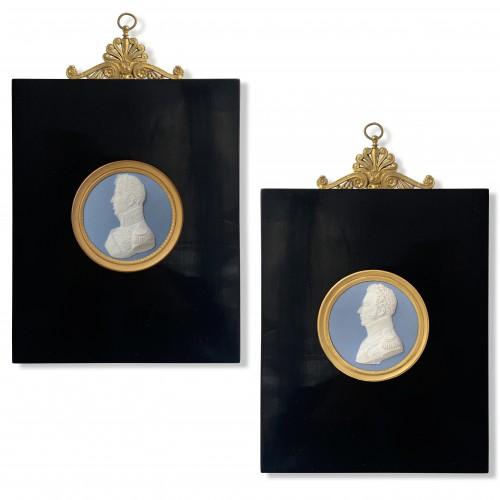 Sèvres Manufactory. A pair of jasperware medallions. Charles X & his son