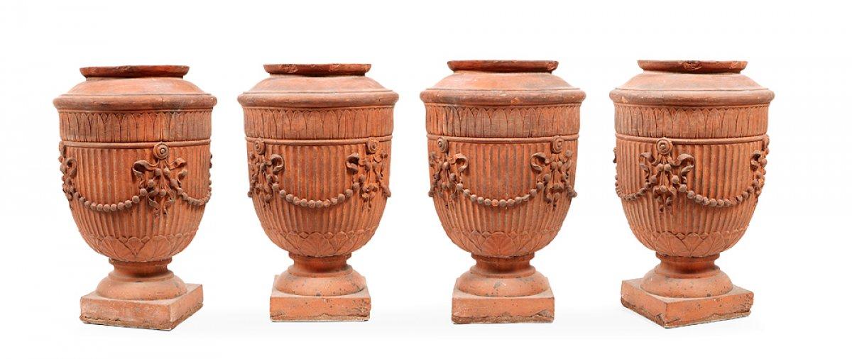 vases en terre cuite circa 1860 xixe si cle. Black Bedroom Furniture Sets. Home Design Ideas