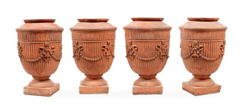 Vases in terracotta circa 1860 - Decorative Objects Style