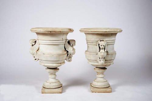 Pair of marble vases - Decorative Objects Style