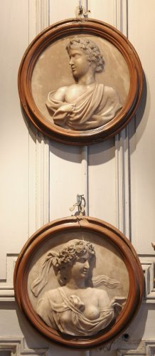Pair of alabaster medallions, 17th century -