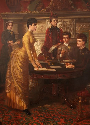 Paintings & Drawings  - Meeting English women in a salon, England 19th century