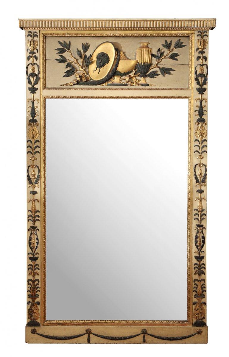 Trumeau en bois peint d 39 poque louis xvi xviiie si cle for Miroir trumeau bois