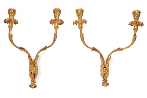 Pair of gilded and carved wooden sconces Louis XVI