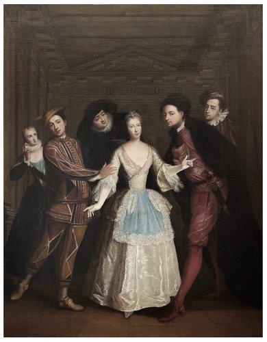 Portrait of the Saint-Pierre family members as Italian comedians - Louis-René Vialy (1680-1770)