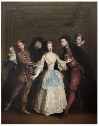 Portrait of the Saint-Pierre family members as Italian comedians - Louis-René Vialy (1680-1770) - Paintings & Drawings Style
