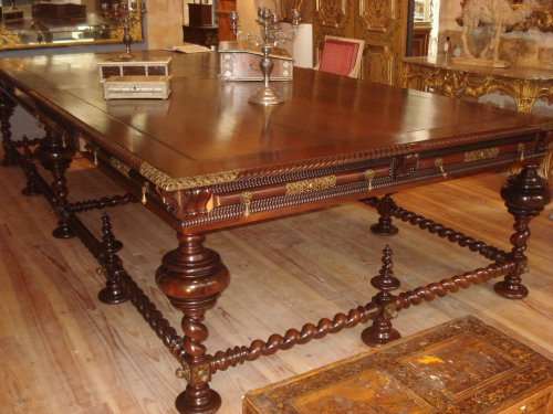 Important portuguese table library in rosewood