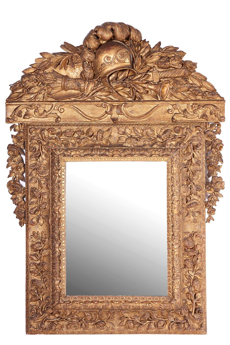 miroir en bois dor louis xiv xviiie si cle. Black Bedroom Furniture Sets. Home Design Ideas