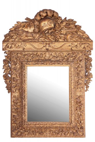 Gilt wood mirror, Louis XIV - Mirrors, Trumeau Style Louis XIV