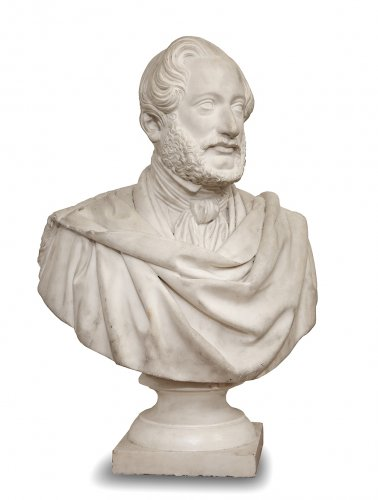 Bust in white marble, dated 1843