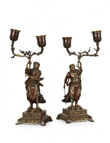 Pair of bronze candlesticks, oriental style